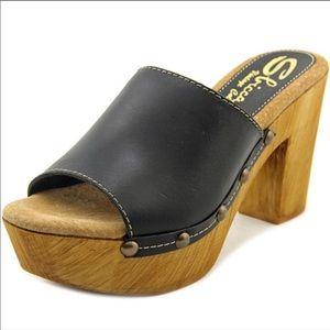Sbicca Taffy Open Toe Leather Platform Slide